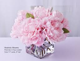 Peony Floral Arrangement by Light Pink Blush Silk Peony Peonies Glass Vase Faux Water