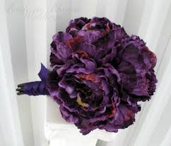 Silk Wedding Flowers Purple Peony Wedding Bouquet Silk Brides Bouquet Bride In Bloom