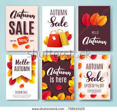 autumn card set fall quotes bright stock vector 708515125