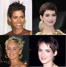 haircut for ling face with high cheek bones who suits a pixie haircut