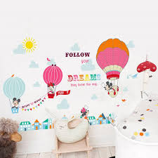 Cartoon Mickey Minnie Mouse Balloon Home Decals Wall Stickers For - Cheap wall stickers for kids rooms