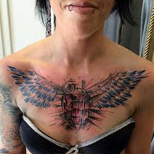 24 wings tattoos on chest