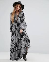 maxi dress in boho paisley by glamorous black