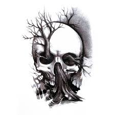 temporary skull skull tree artwear