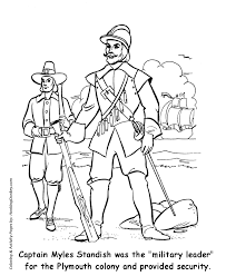 thanksgiving coloring pages pilgrim leader myles standish