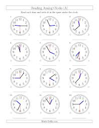 Time Clock Worksheets Reading Time On 12 Hour Analog Clocks In 30 Second Intervals A