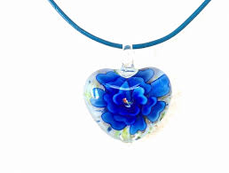 glass flower necklace images Indigo glass flower necklace fine juvelarto jpg