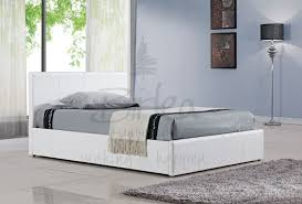 4ft Ottoman Bed With Mattress Berlin Black Brown Or White Faux Leather Ottoman Bed In Sizes 3ft