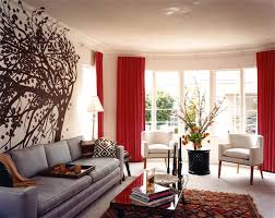 Modern Living Room Curtains Like The Silverish Couch And Red Curtains Hint Of Texture