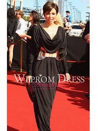Long Draped Dress Black Long Sleeve Natural Belt Draped Wrap Hourglass Inverted