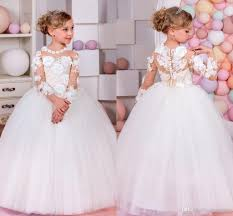 2017 top quality pageant dresses for little girls long sleeve ball