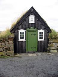 Small Cottage Homes Tiny House From Reykjavik Iceland Sports A Lovely Green Door