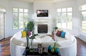 Sectional Sofa Living Room Ideas Living Room White Living Room With Two Curved Sectional Sofa And