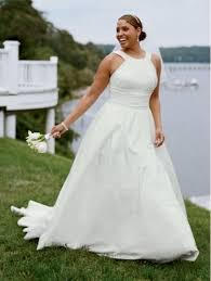 david bridals simple halter gown wedding dress for plus size plus