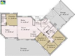 plan 4 chambres plain pied plan maison 4 chambres plain pied gratuit fabulous plans plan de
