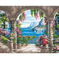 dimensions floral patio paint by number craft kit 91452