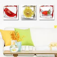 modern kitchen art paintings 3 panel modern wall art ice fruit oil painting on canvas wall