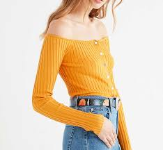 mustard color code color code 074 uo brigitte button down off the shoulder sweater