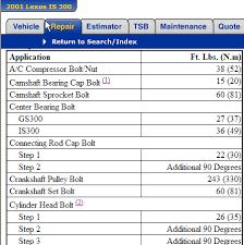 2001 lexus es300 specs i need the timing diagram and bolt torque specs for a 2001