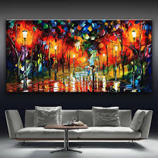 Painting Home Decor by 2017 2016 Leonid Afremov Walking Lovers Trees Multicolor Printed