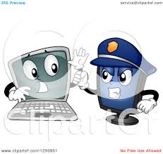 clipart of a cartoon laptop computer being arrested by a police