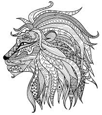 coloring pages lion head colored pencils for adults