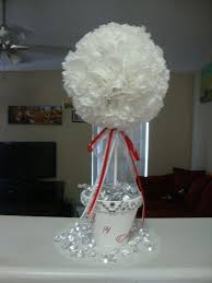 Topiary Balls With Flowers - topiary tree wedding centerpiece coffee filter flower