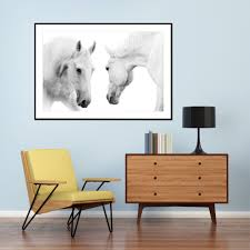 two white horses framed print the block shop
