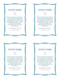 4 Per Sheet Label Template by Event Invitations 4 Per Page Office Templates