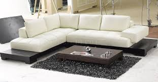 Modern Sectional Sofas Beige Leather Modern Sectional Sofa W Wooden Base