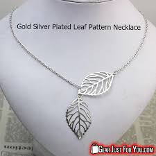 leaf pattern necklace charming gold silver plated acrylic plant shaped pendant necklace