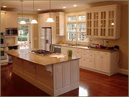 kitchen laminate wood floor with center wood kitchen island and