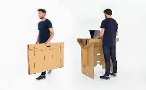 this standing cardboard desk is portable recyclable and is