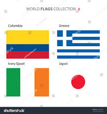 colombia greece japan ivory coast flags stock vector 198498356