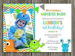 printable boy monster birthday photo invitation boy first