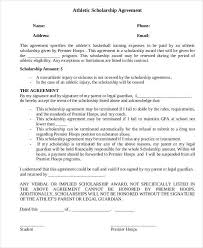 scholarship contract templates athletic scholarship contract
