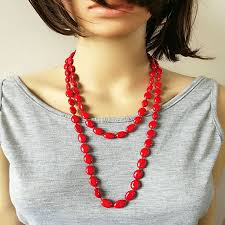 wear long necklace images Elegant geo semi precious stone beaded chain necklace for women jpg