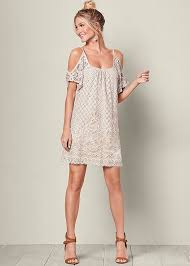 summer dresses cold shoulder lace dress in ivory multi venus