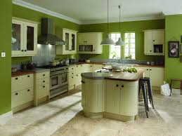 lovely green kitchen wall design with wood kitchen set including