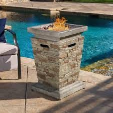 Fire Pit With Lava Rocks - laguna outdoor 19 inch column propane fire pit with lava rocks by
