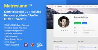 Free Resume Html Template Free Download Matresume Material Cv Resume Vcard Portfolio