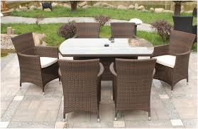 Wicker Rattan Dining Chairs Paradise 6 Seater Round Brown Or Grey Rattan Garden Furniture