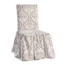 Dinning Chair Covers Damask Print Ruffled Dining Chair Slipcovers Set Of 2 Free