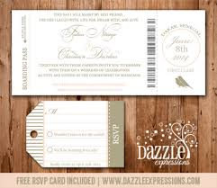 boarding pass wedding invitation rsvp card included