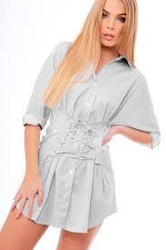 stripe lace up shirt dress sian