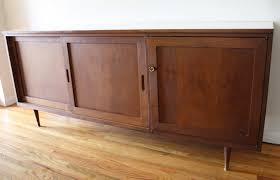 mid century modern credenza media cabinet picked vintage