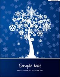 4 designer winter snowflake tree vector material