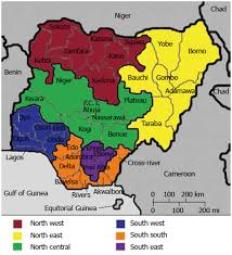 Nigeria Africa Map by Map Of Nigeria Showing The 6 Geo Political Zones 36 States And