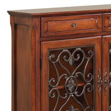 powell scroll console table powell light cherry 2 door 2 drawer scroll console beyond stores