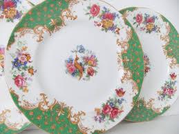 vintage china plates 4 paragon rockingham tea plates in green